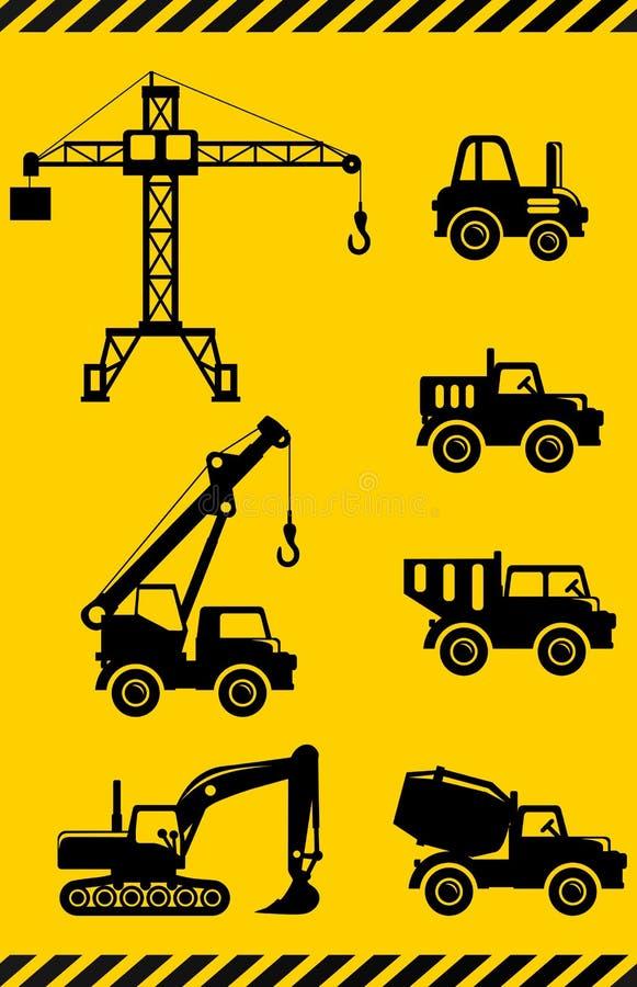Set sylwetka bawi się ciężkiej budowy maszyny w mieszkanie stylu royalty ilustracja