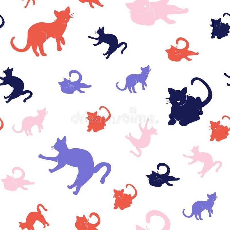 Set sylwetka kota bezszwowy wz?r ilustracji