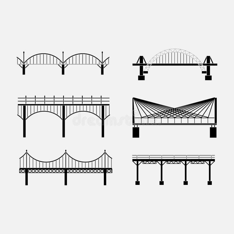 Set sylwetka mosta ikon mosty, zawieszenie royalty ilustracja