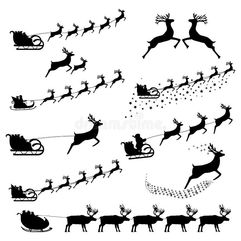 Set sylwetki Święty Mikołaj w nicielnica jeździeckim reniferze ilustracji