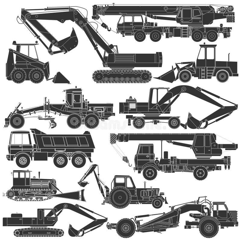 Set sylwetki budowy maszyneria ilustracji