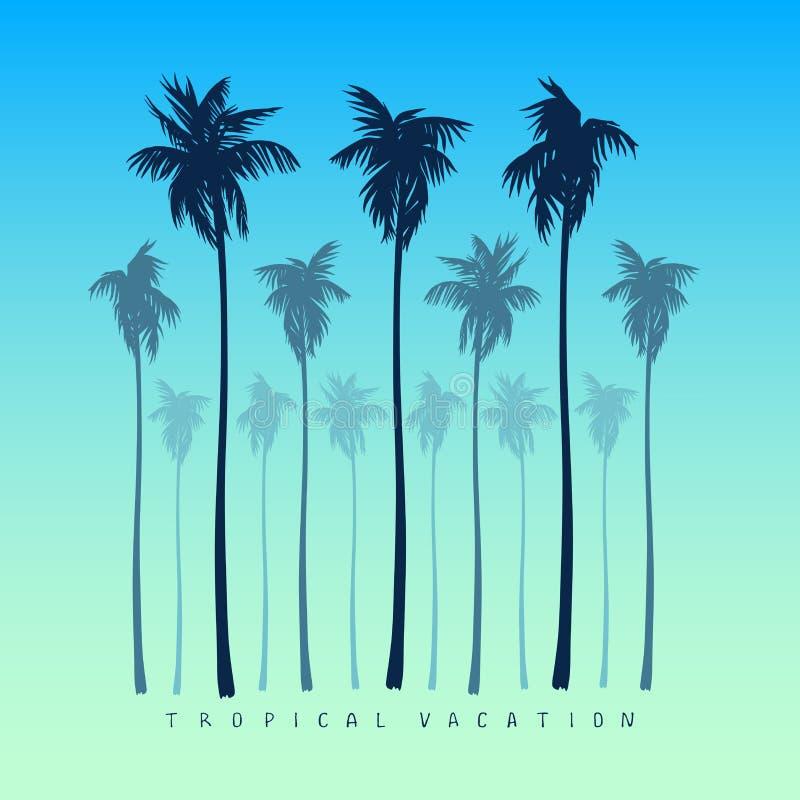 Set sylwetki drzewka palmowe w realistycznym stylu na żółtym jaskrawym błękitnym tle