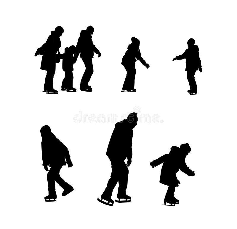 Set sylwetki dzieci i dorosłych jeździć na łyżwach ilustracja wektor
