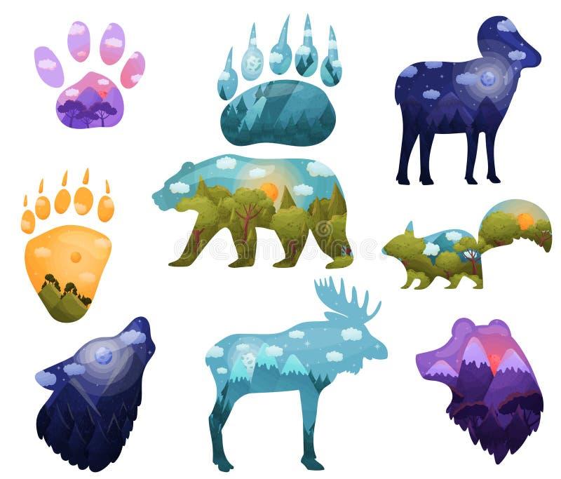 Set sylwetki dzikie zwierzęta z krajobrazami wśrodku t?a ilustracyjny rekinu wektoru biel ilustracja wektor