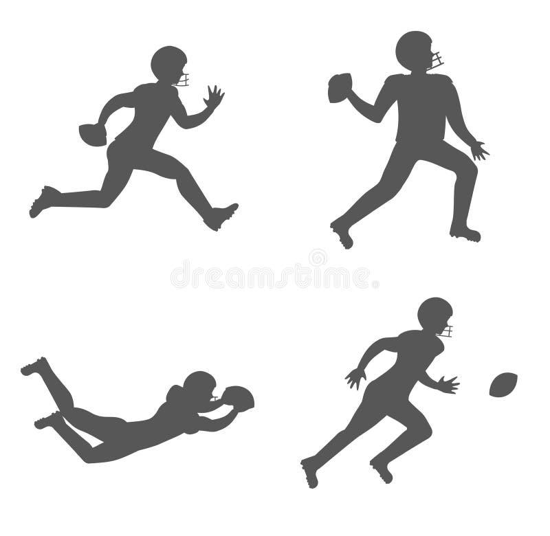 Set sylwetki futbol amerykański gracze ilustracji