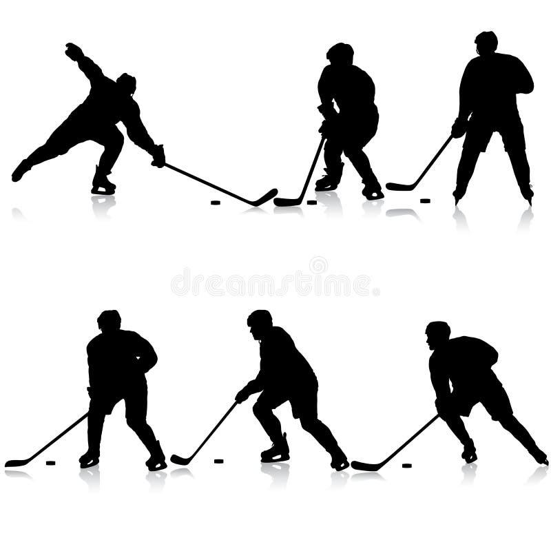 Set sylwetki gracz w hokeja Odizolowywający na bielu royalty ilustracja