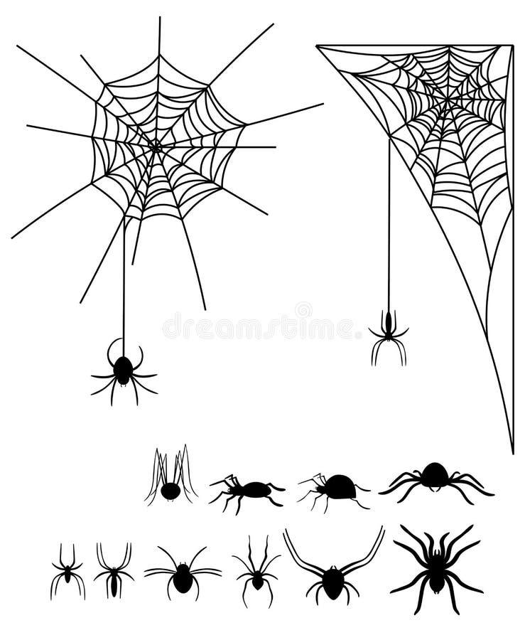 Set sylwetki pająki i pajęczyny Kolekcja czarne sylwetki pająki dla Halloween Jadowici insekty royalty ilustracja