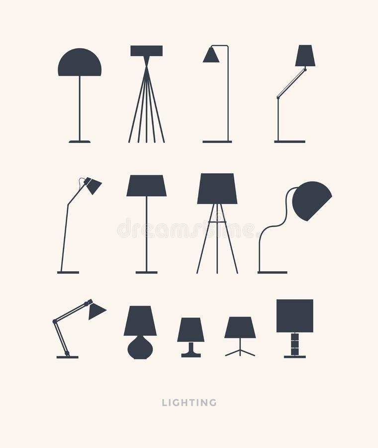 Set sylwetki stołowe lampy na lekkim tle royalty ilustracja