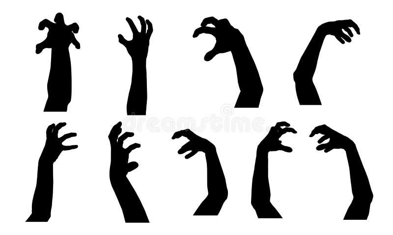Set sylwetki straszne ręki stosowne dla Halloween royalty ilustracja