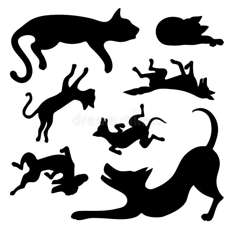 Set sylwetki szczęśliwi pies i kot ilustracja wektor