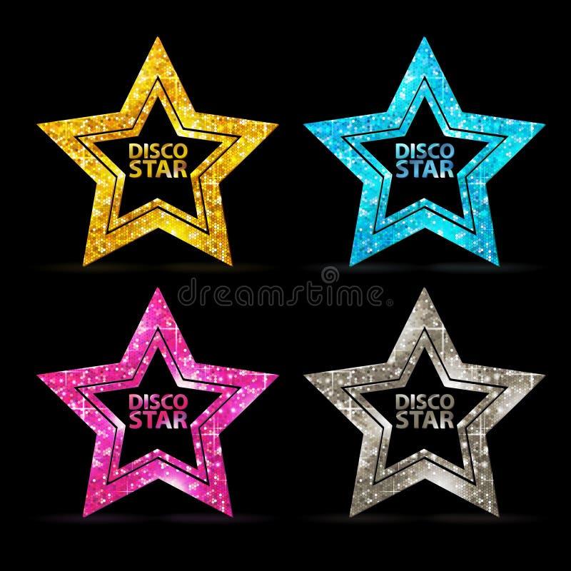Set sylwetki złocisty dyskoteki gwiazdy znak royalty ilustracja