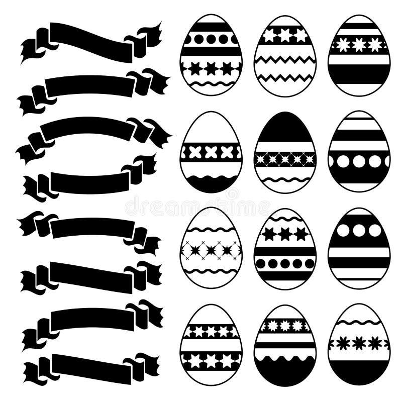 Set sylwetki z czarnym uderzeniem odizolowywał Wielkanocnych jajka na białym tle Prosta płaska wektorowa ilustracja Stosowny dla  ilustracja wektor