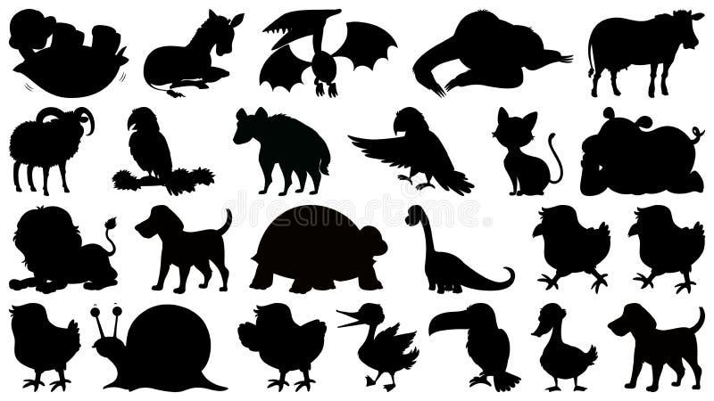 Set sylwetki zwierz? royalty ilustracja