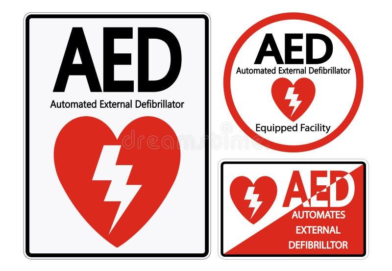 Set Symbol AED Symbol Sign Isolate On White Background,Vector Illustration EPS.10. Emergency, medical, heart, defibrillator, health, external, aid vector illustration