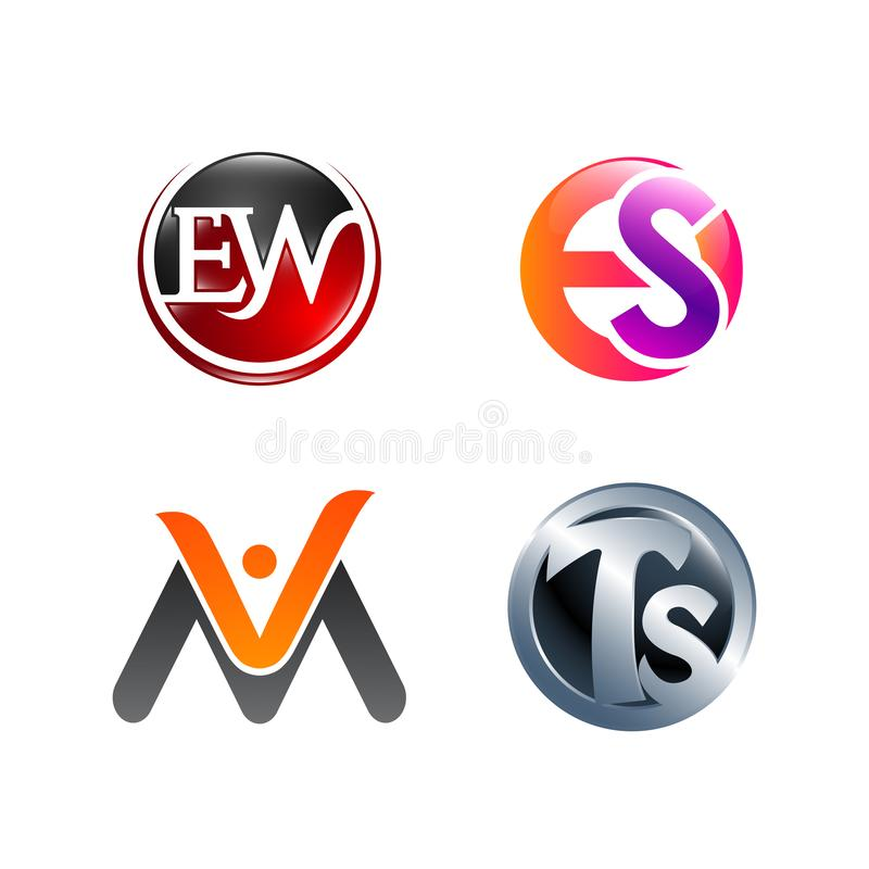 Set of symbol for Business logo design template. Collection of Abstracts modern icons for organization stock photos