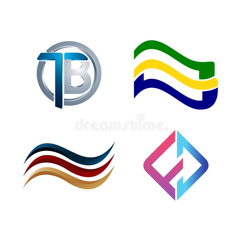 Set of symbol for Business logo design template. Collection of Abstracts modern icons for organization. Water loop community line wave swoosh geometric flag royalty free illustration