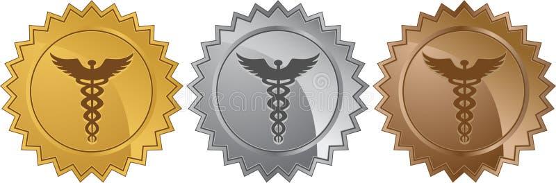 set symbol för 3 caduceusläkarundersökningskyddsremsor royaltyfri illustrationer