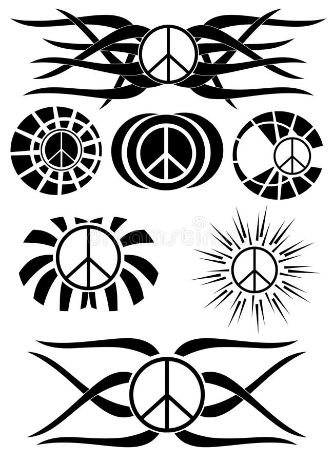 Set Of Symbol Of Peace Tattoo Isolated Stock Vector Illustration