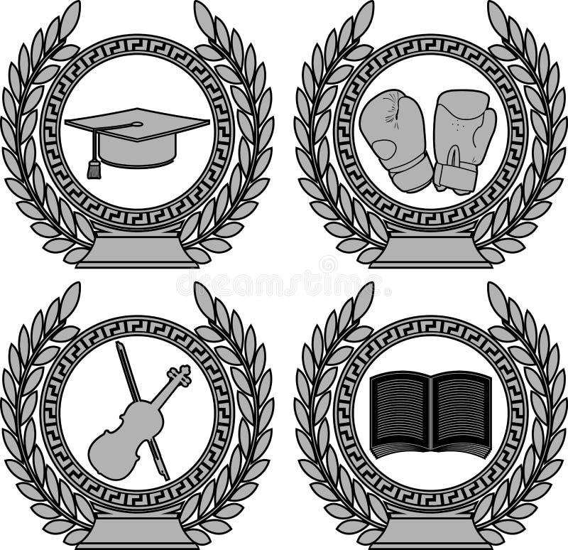 Set symbole osiągnięcie obraz stock