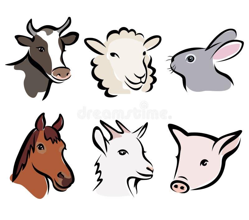 set symboler för djur lantgård vektor illustrationer