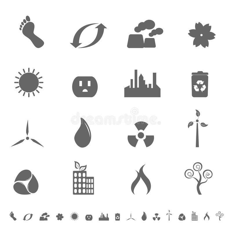 set symboler för ecologic symbol stock illustrationer
