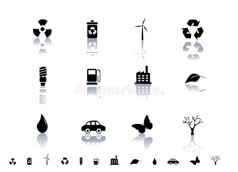 set symboler för ekologisk symbol stock illustrationer