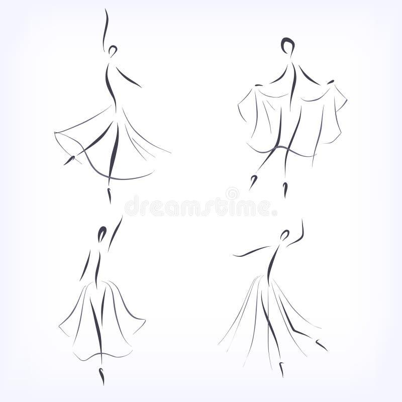 Dream Dance By Line Art Inc : Set of symbolic ballet dancers stock vector illustration