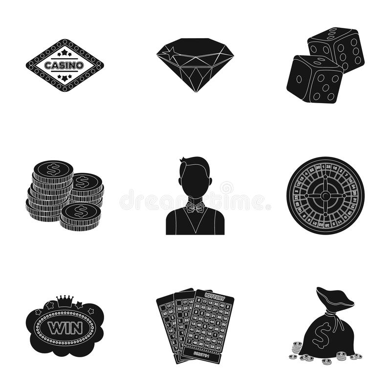The set of symbols casino games. Gambling for money. Chips, dominoes, casino. Casino and gambling icon in set collection. On black style vector symbol stock web stock illustration