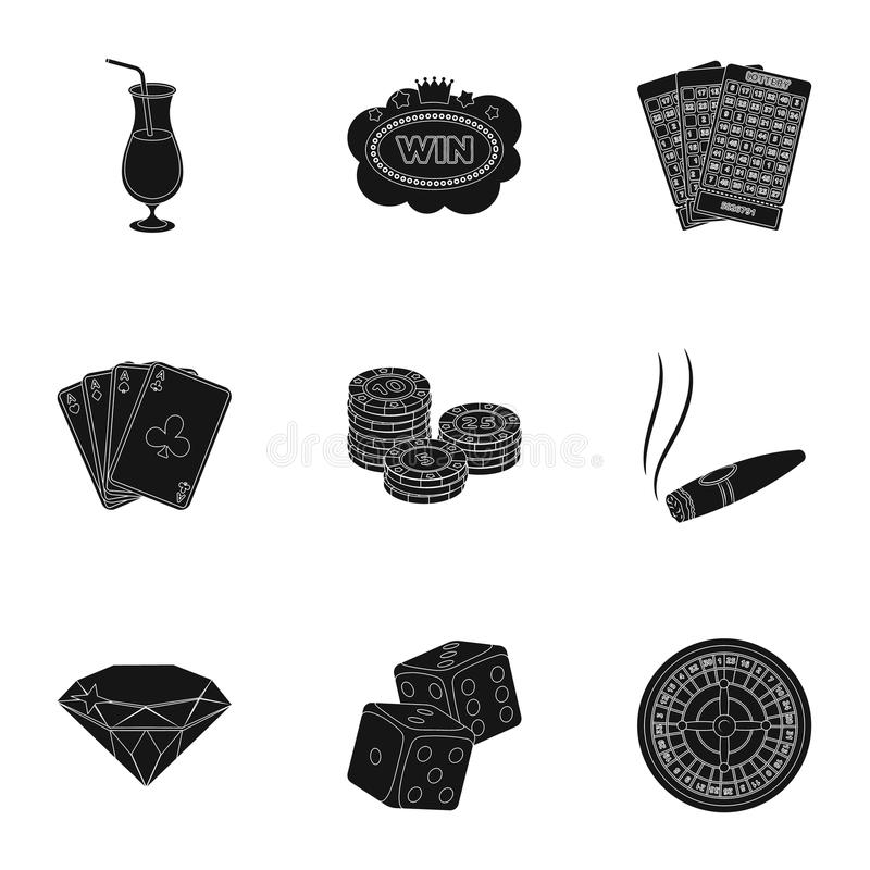 The set of symbols casino games. Gambling for money. Chips, dominoes, casino. Casino and gambling icon in set collection. On black style vector symbol stock web vector illustration