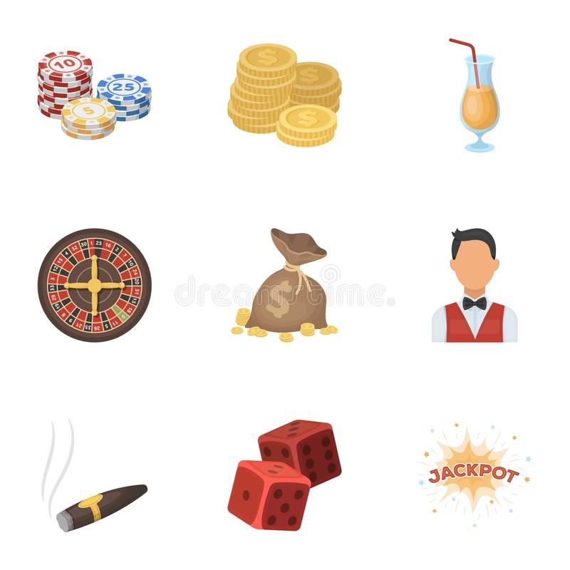 The set of symbols casino games. Gambling for money. Chips, dominoes, casino. Casino and gambling icon in set collection. On cartoon style vector symbol stock vector illustration