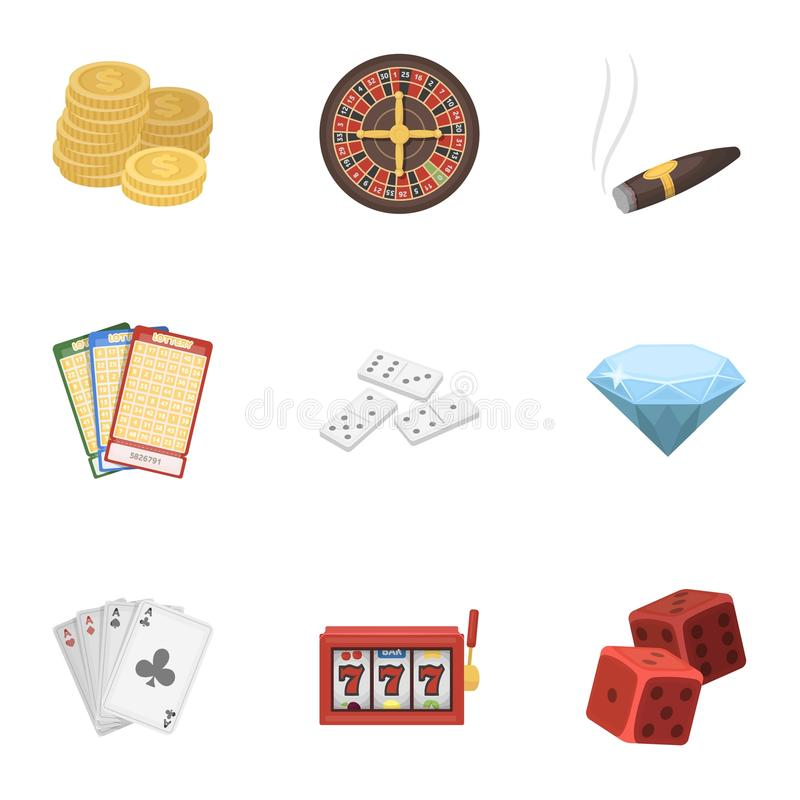 The set of symbols casino games. Gambling for money. Chips, dominoes, casino. Casino and gambling icon in set collection. On cartoon style vector symbol stock stock illustration