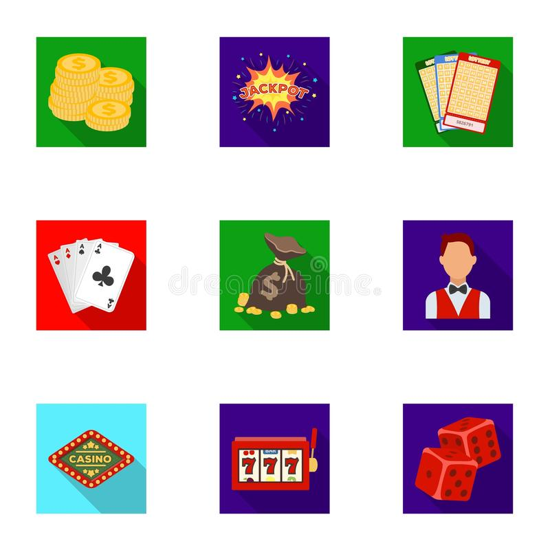 The set of symbols casino games. Gambling for money. Chips, dominoes, casino. Casino and gambling icon in set collection. On flat style vector symbol stock web vector illustration