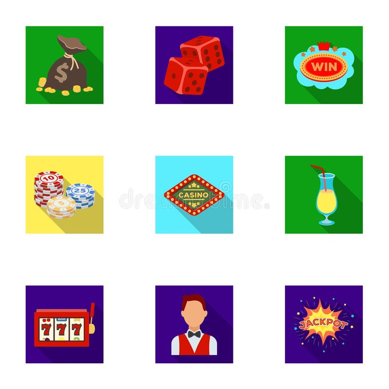 The set of symbols casino games. Gambling for money. Chips, dominoes, casino. Casino and gambling icon in set collection. On flat style vector symbol stock web royalty free illustration