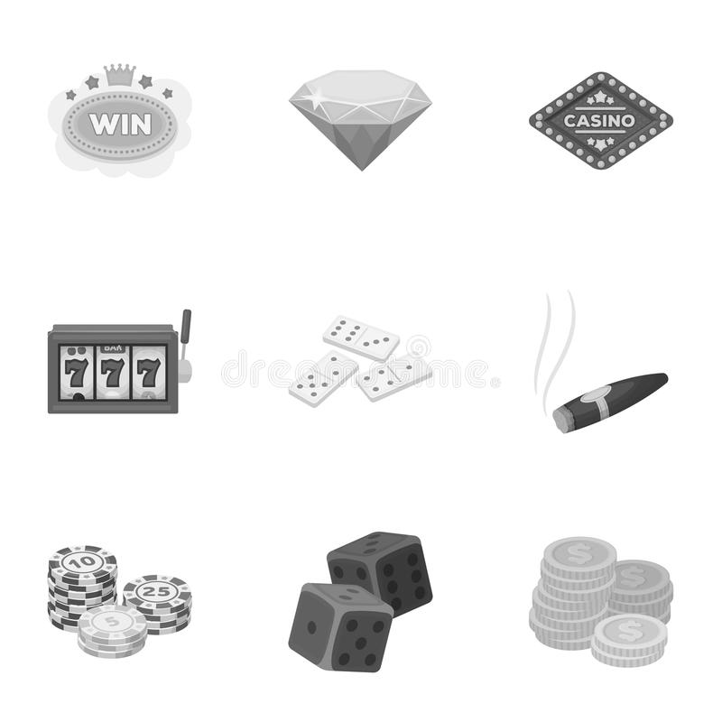 The set of symbols casino games. Gambling for money. Chips, dominoes, casino. Casino and gambling icon in set collection. On monochrome style vector symbol vector illustration