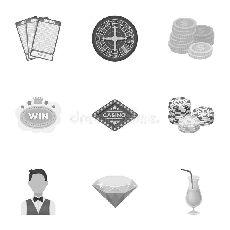 The set of symbols casino games. Gambling for money. Chips, dominoes, casino. Casino and gambling icon in set collection. On monochrome style vector symbol royalty free illustration