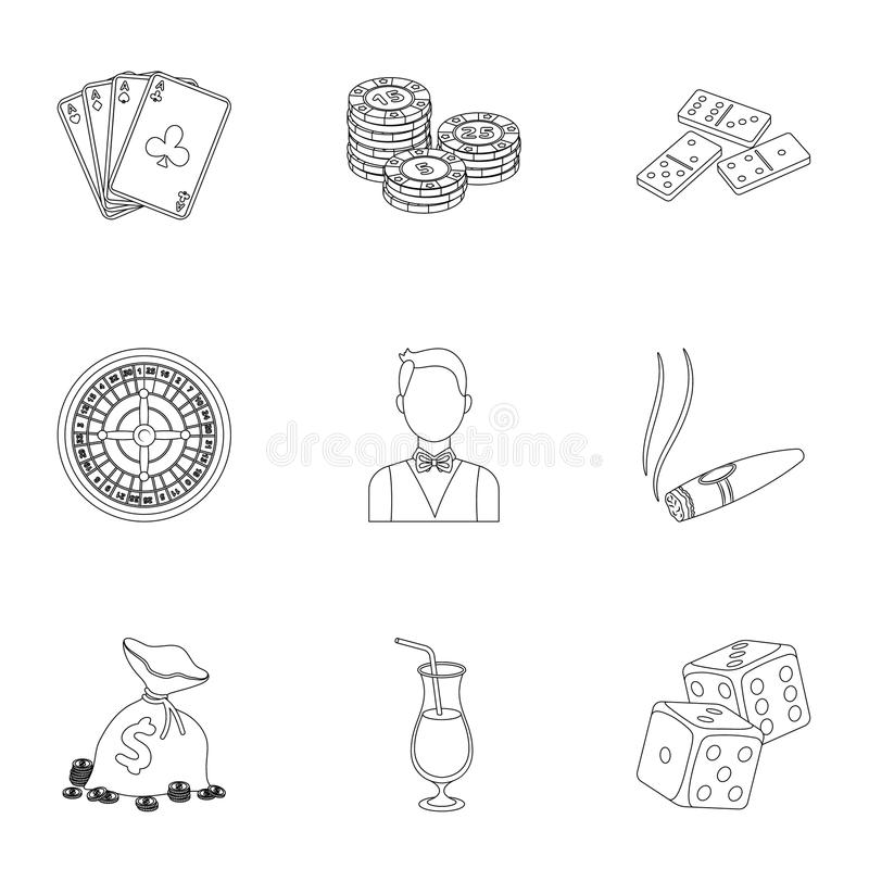 The set of symbols casino games. Gambling for money. Chips, dominoes, casino. Casino and gambling icon in set collection. On outline style vector symbol stock vector illustration