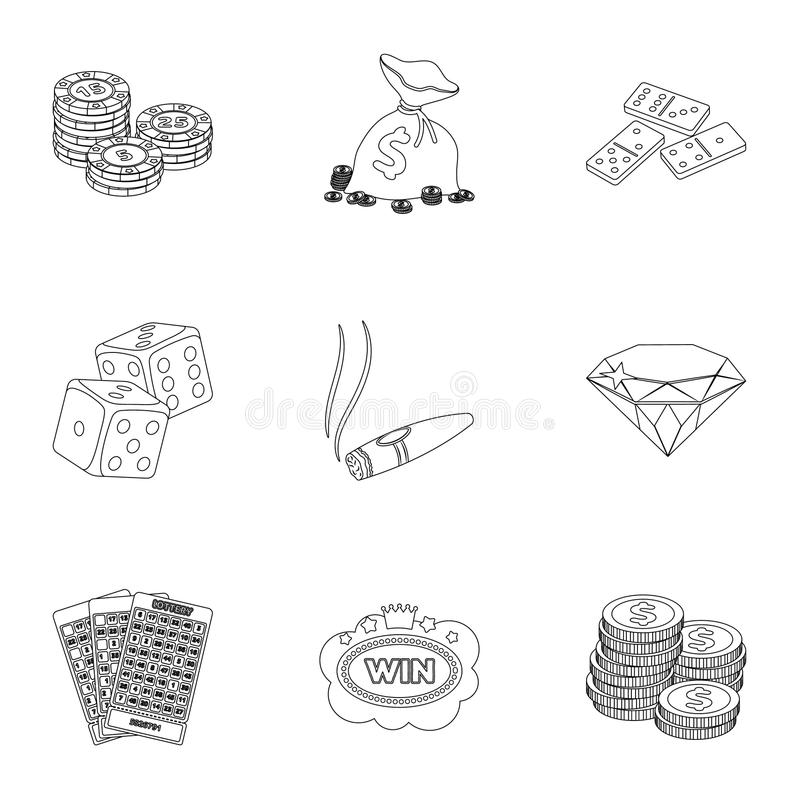 The set of symbols casino games. Gambling for money. Chips, dominoes, casino. Casino and gambling icon in set collection. On outline style vector symbol stock royalty free illustration