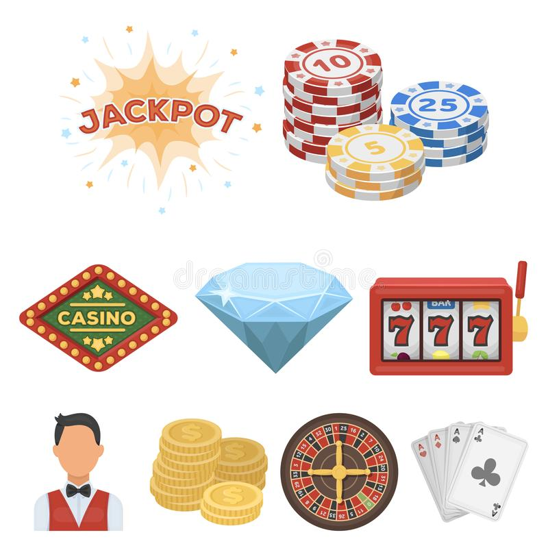 The set of symbols casino games. Gambling for money. Chips, dominoes, casino. Casino and gambling icon in set collection. On cartoon style vector symbol stock royalty free illustration
