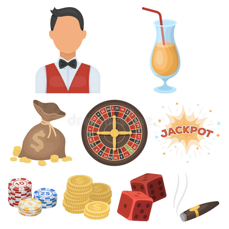 The set of symbols casino games. Gambling for money. Chips, dominoes, casino. Casino and gambling icon in set collection on cartoon style vector symbol stock royalty free illustration
