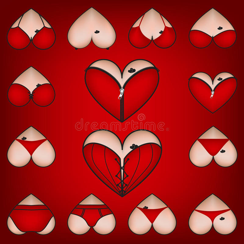 Set Of Symbols, Heart With Lingerie Stock Illustration