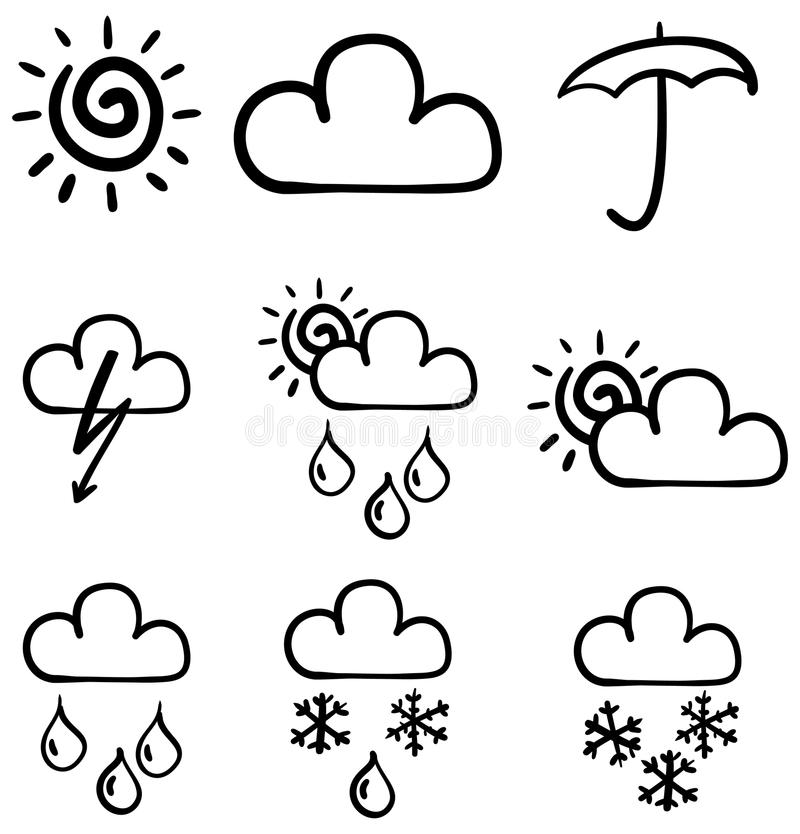 Set of symbols for the indication of weather. vector illustration