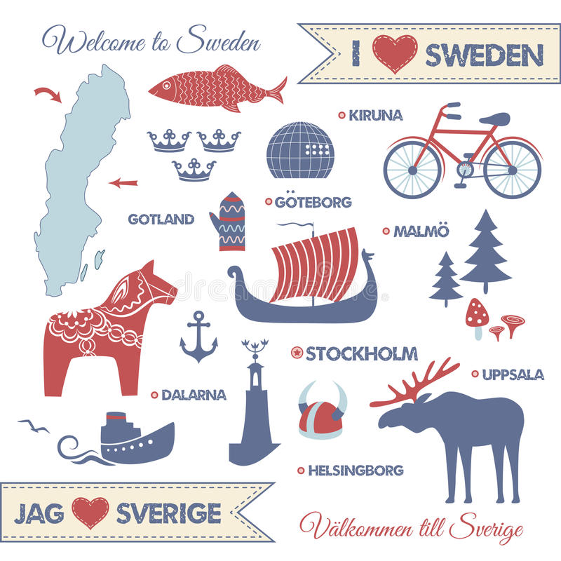 Set with symbols and map of Sweden royalty free illustration