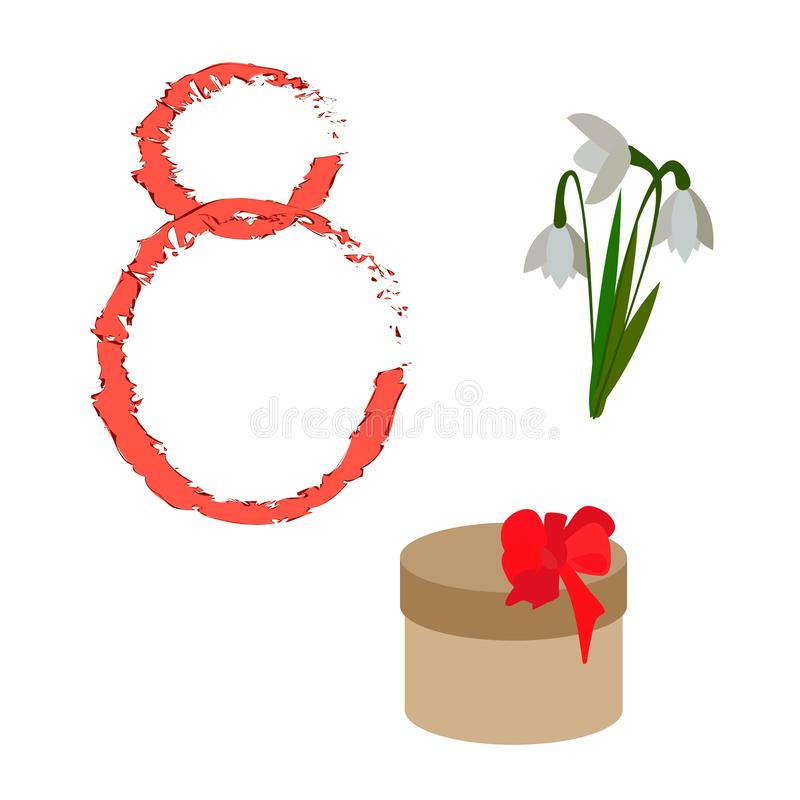 Set of symbols and signs for the design of cards on March 8 Women`s Day stock illustration