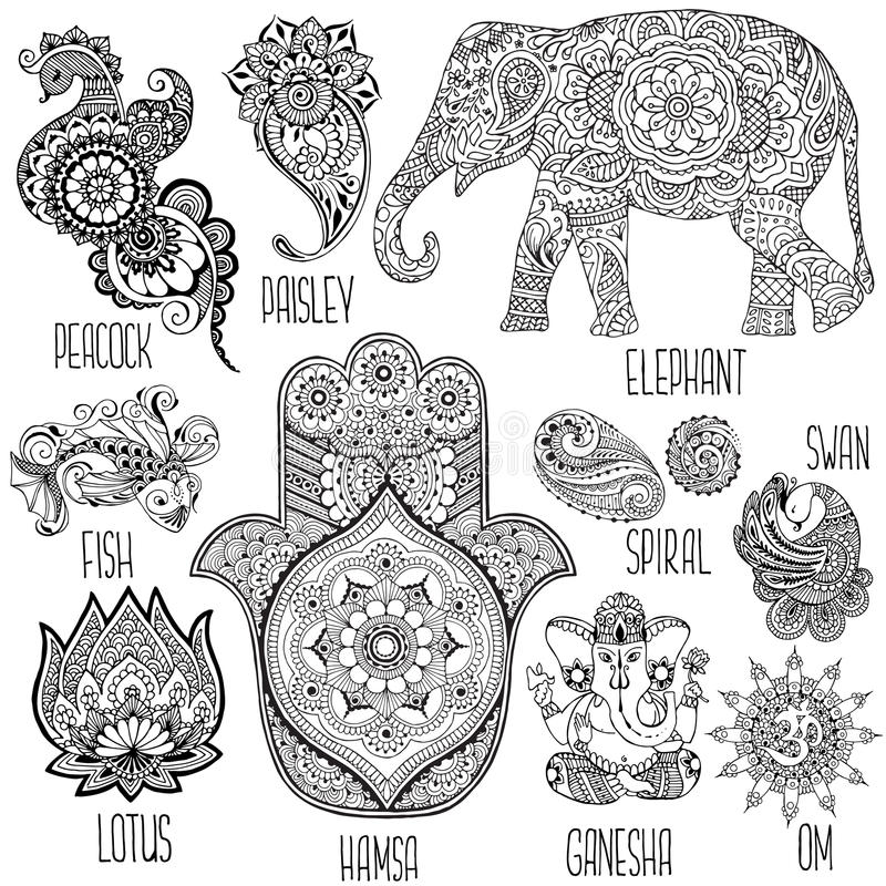 Set of symbols used in mihendi vector illustration