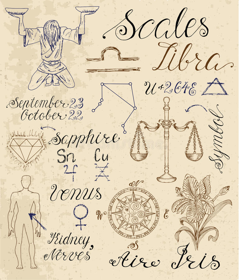Set of symbols for zodiac sign Libra or Scales royalty free illustration