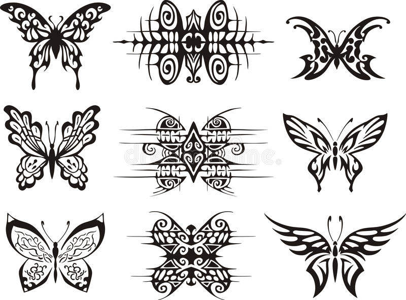 Download Set Of Symmetric Butterfly Tattoos Stock Vector - Image: 27143139