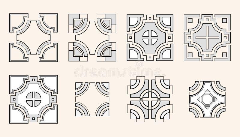 Set Of 8 Symmetric Geometric Tile Shapes Stock Vector Illustration