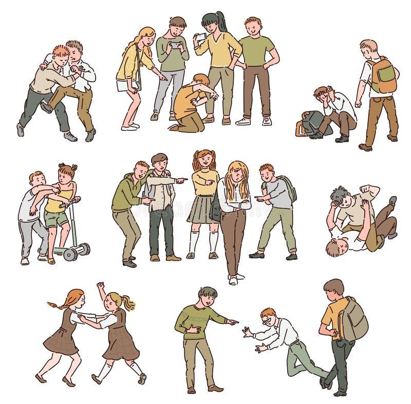 Set sytuacje konfliktu, walk, nadużycia i ogłoszenia towarzyskiego przemoc, znęcać się między dziećmi ilustracji