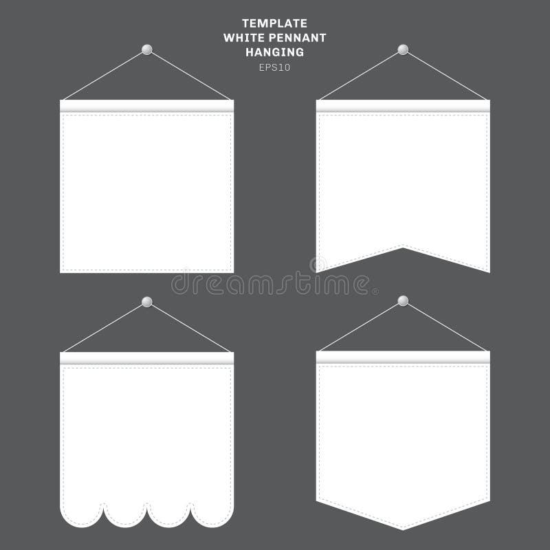 Set szablon banderki Biały obwieszenie na ścianie Reklamowy brezentowy plenerowy sztandaru egzamin próbny w górę ilustracja wektor