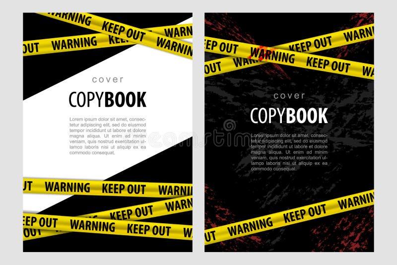 Set 2 szablon dla copybook, kolor żółty polici lampasy no m ilustracja wektor